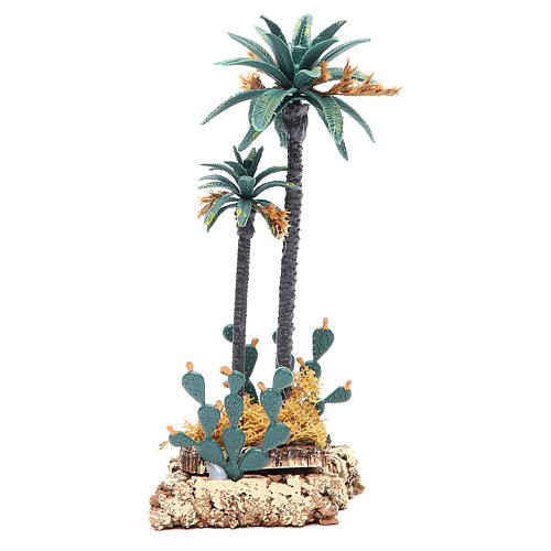 Palm tree and cactus for nativity scene in PVC, 20cm 1