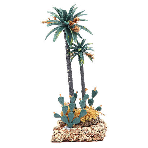 Palm tree and cactus for nativity scene in PVC, 20cm 2