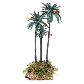 Moss, Trees, Palm trees, Floorings: Triple palm with flowers for nativity scene in PVC, 23cm