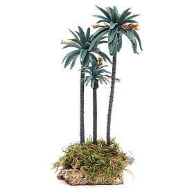 Palma tripla con fiori h. 23 cm in pvc s1