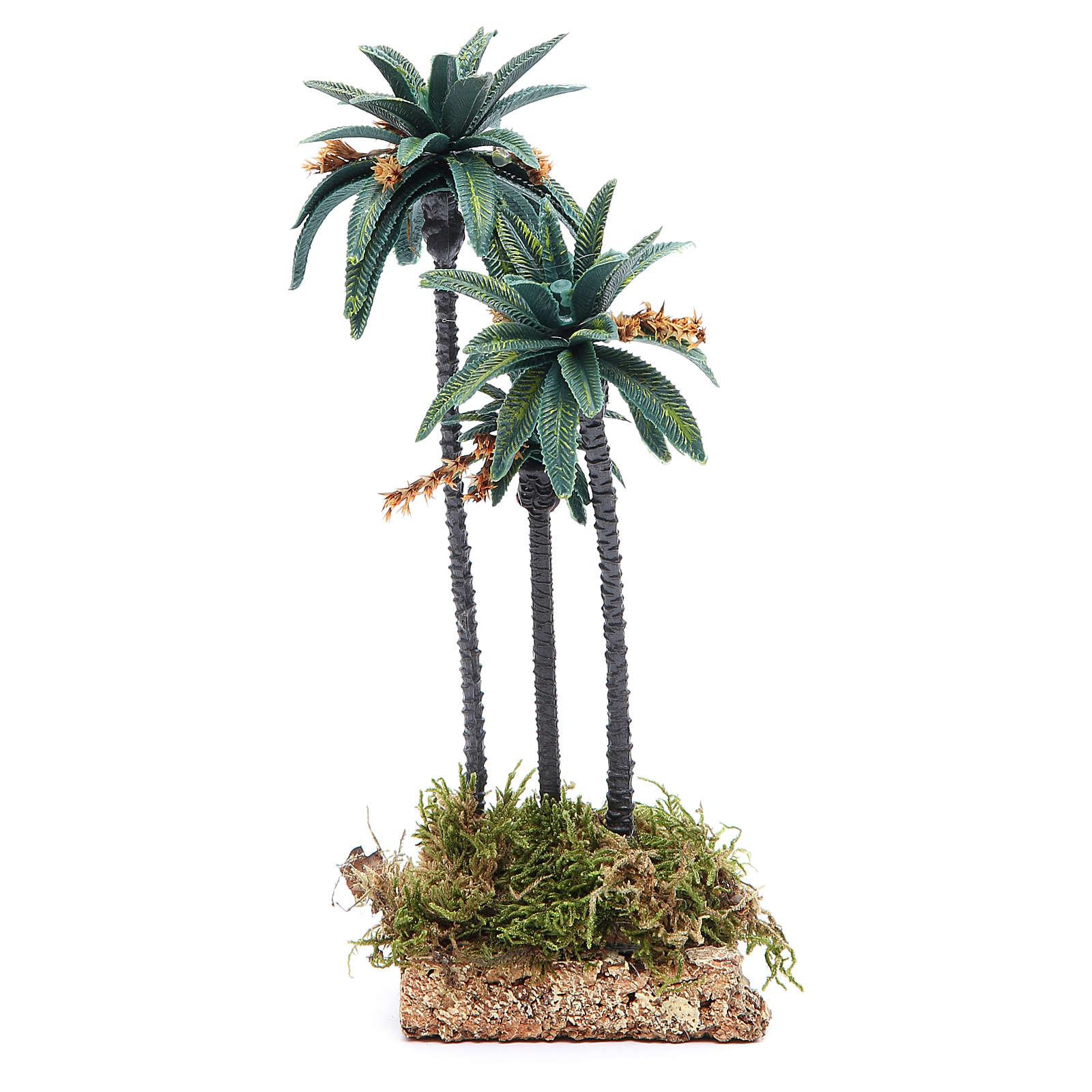 Palmeira tripla com flores altura 23 cm em pvc 4
