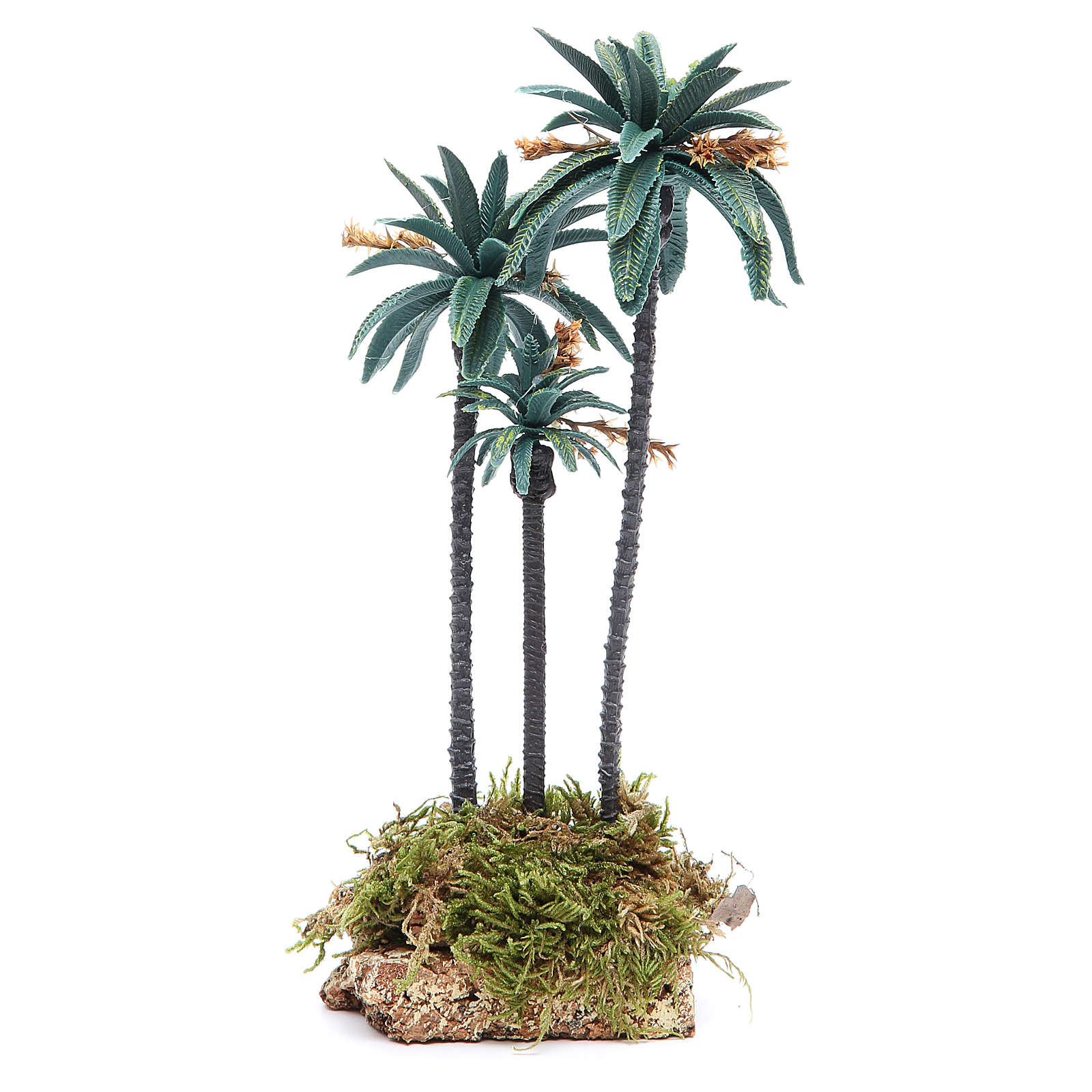 Triple palm with flowers for nativity scene in PVC, 23cm 4