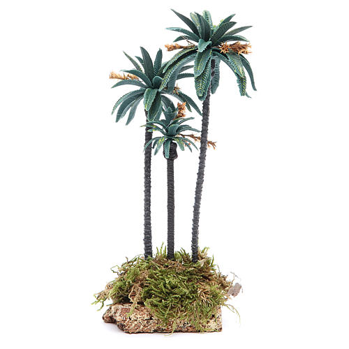 Triple palm with flowers for nativity scene in PVC, 23cm 1