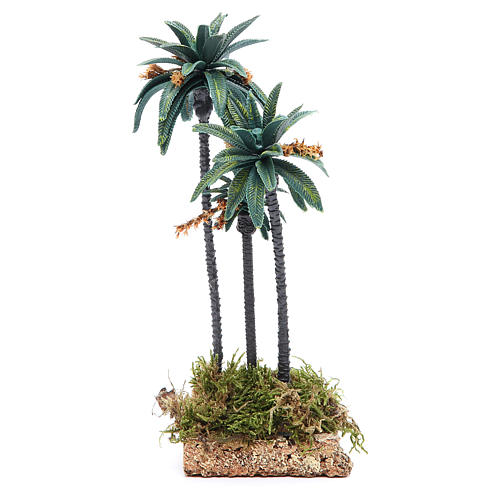 Triple palm with flowers for nativity scene in PVC, 23cm 2