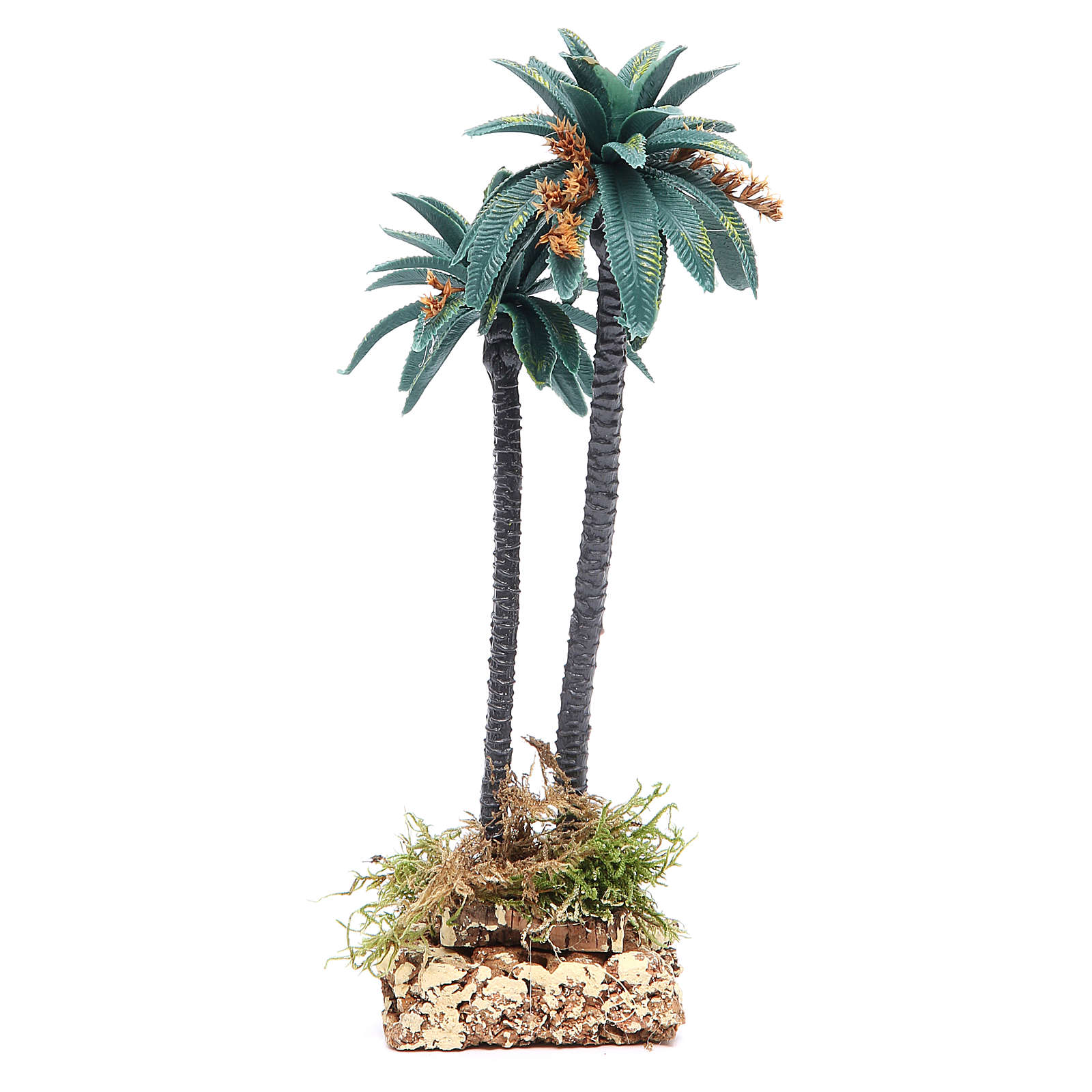 Double palm with flowers for nativity scene in PVC, 21cm 4