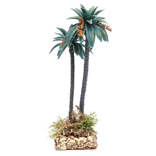 Double palm with flowers for nativity scene in PVC, 21cm 2