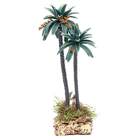 Musgo, líquenes, plantas.: Palma doble con flores h real 21 cm de pvc