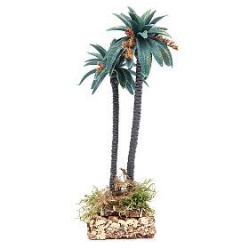 Palma doble con flores h real 21 cm de pvc s2