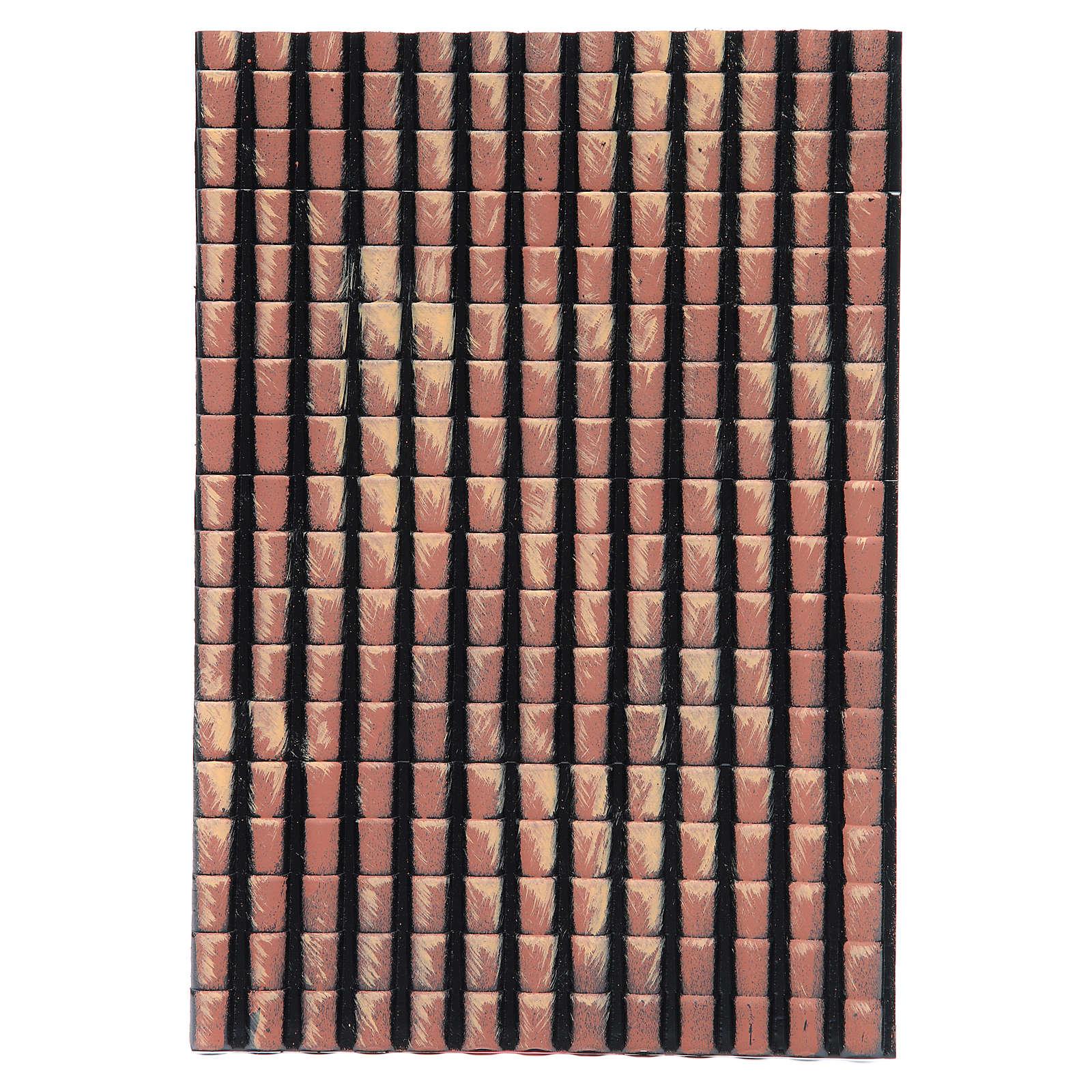 Pannello tetto presepe tegole rosse sfumate 35x25 cm 4