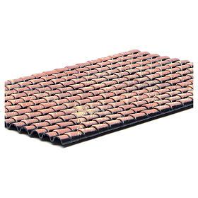 Pannello tetto presepe tegole rosse sfumate 35x25 cm s2