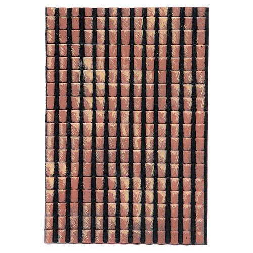 Pannello tetto presepe tegole rosse sfumate 35x25 cm 1
