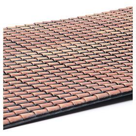 Toit crèche panneau tuiles rouges nuancées 70x50 cm s2