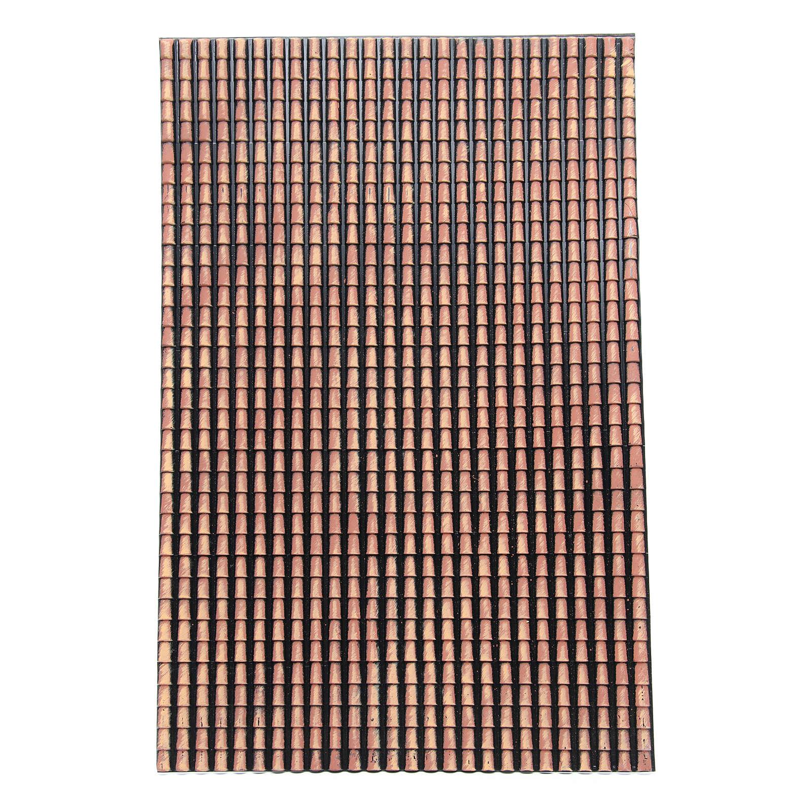 Tetto presepe pannello tegole rosse sfumate 70x50 cm 4