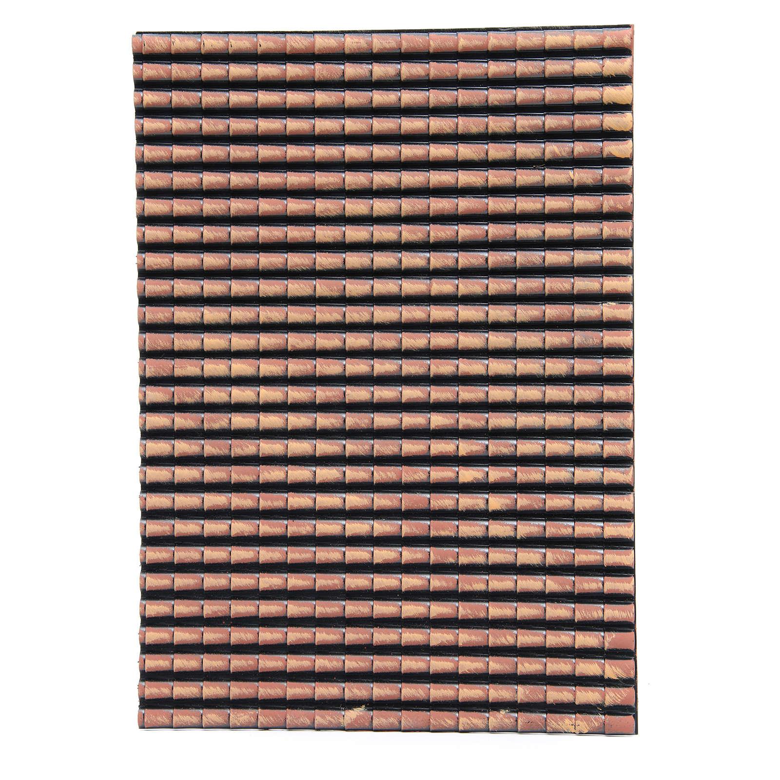 Techo belén plástico panel tejas rojas degradadas 50x35 cm 4