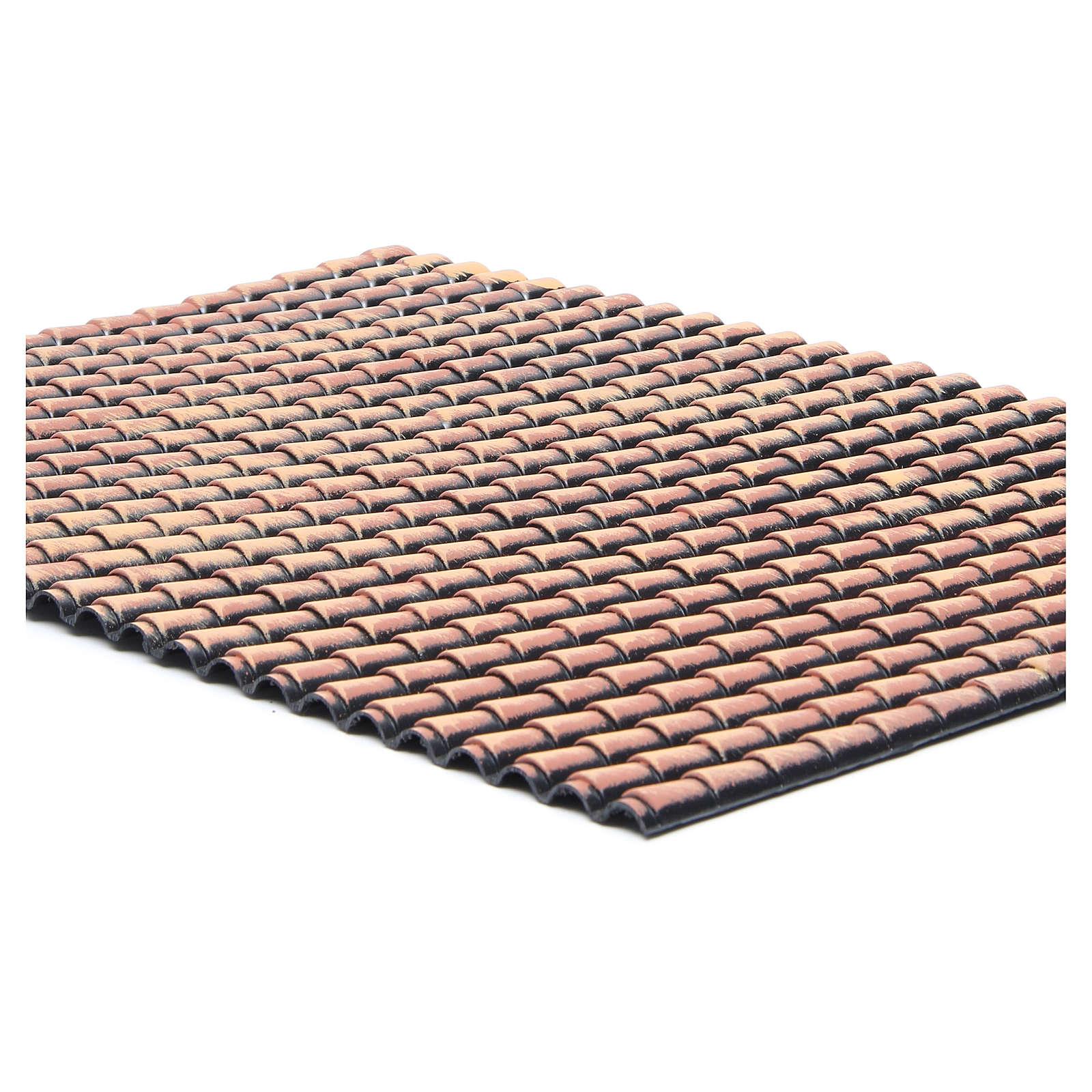 Tetto presepe plastica pannello tegole rosse sfumate 50x35 cm 4