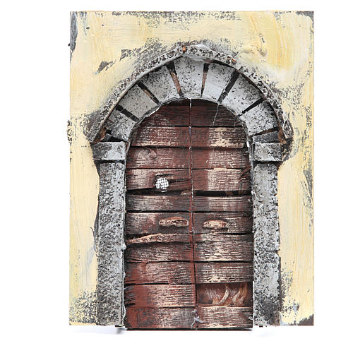 Wall with door for DIY nativities 20x15x2.5cm 1