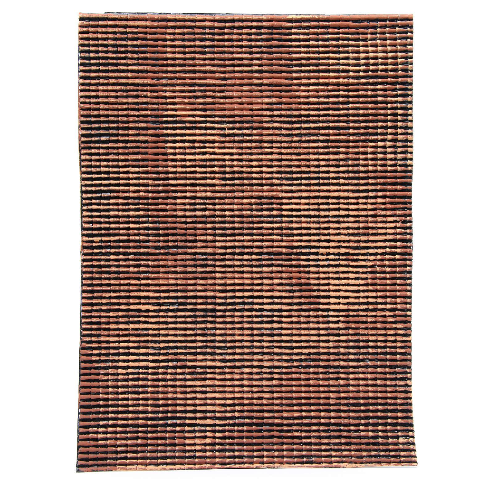 Pannello tetto presepe rosso sfumato tegole piccole 70x50 cm 4