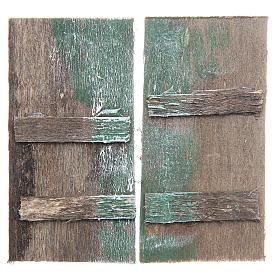 Wooden door for DIY nativities, rectangular 8.5x4.5, set of 2 s1