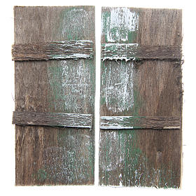 Balustrade, doors, railings: Wooden door for DIY nativities, rectangular 11.5x5.5, set of 2