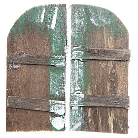 Wooden door for DIY nativities, arch shaped 11.5x5.5, set of 2 s1