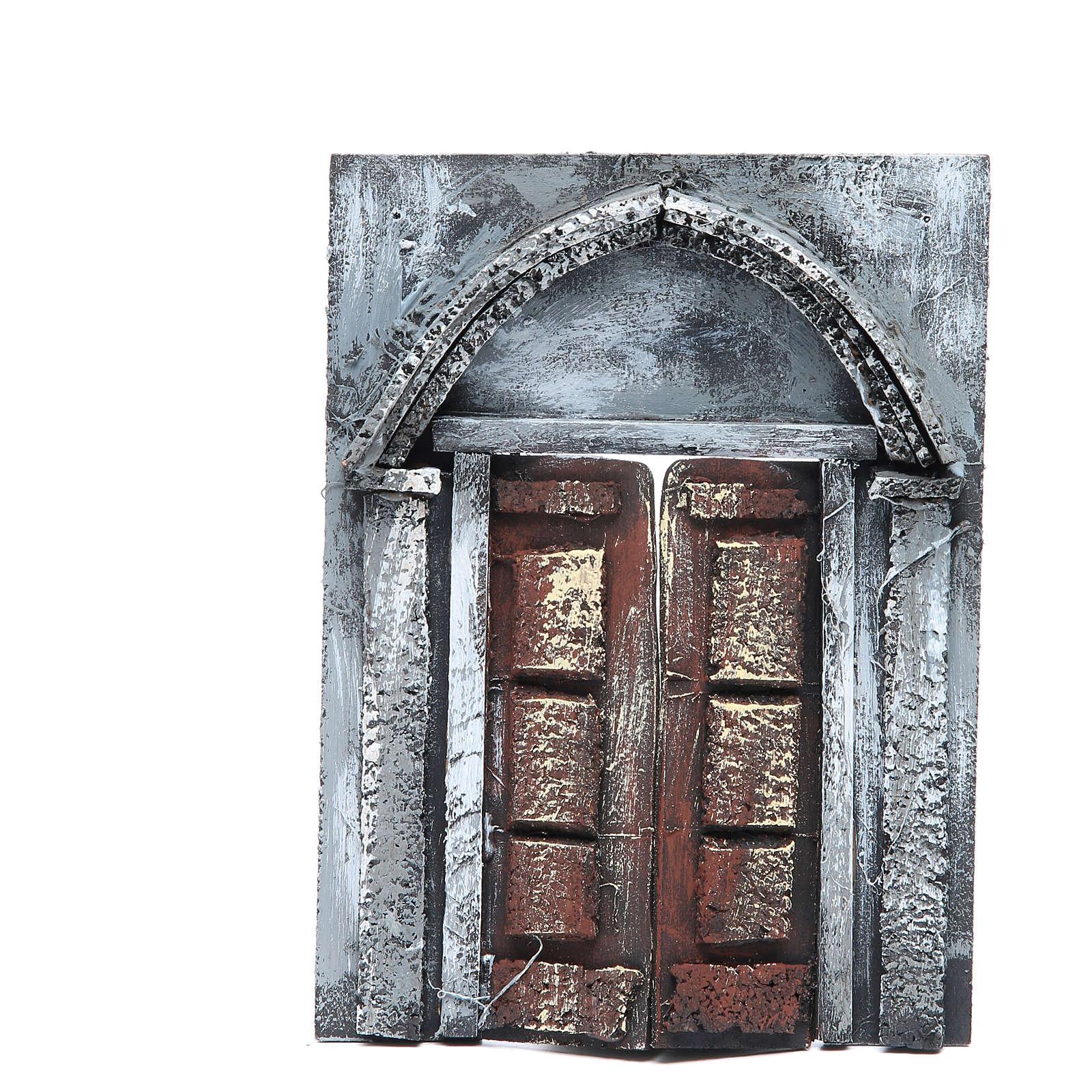 Wall with door for nativities measuring 20x15x2.5cm 4