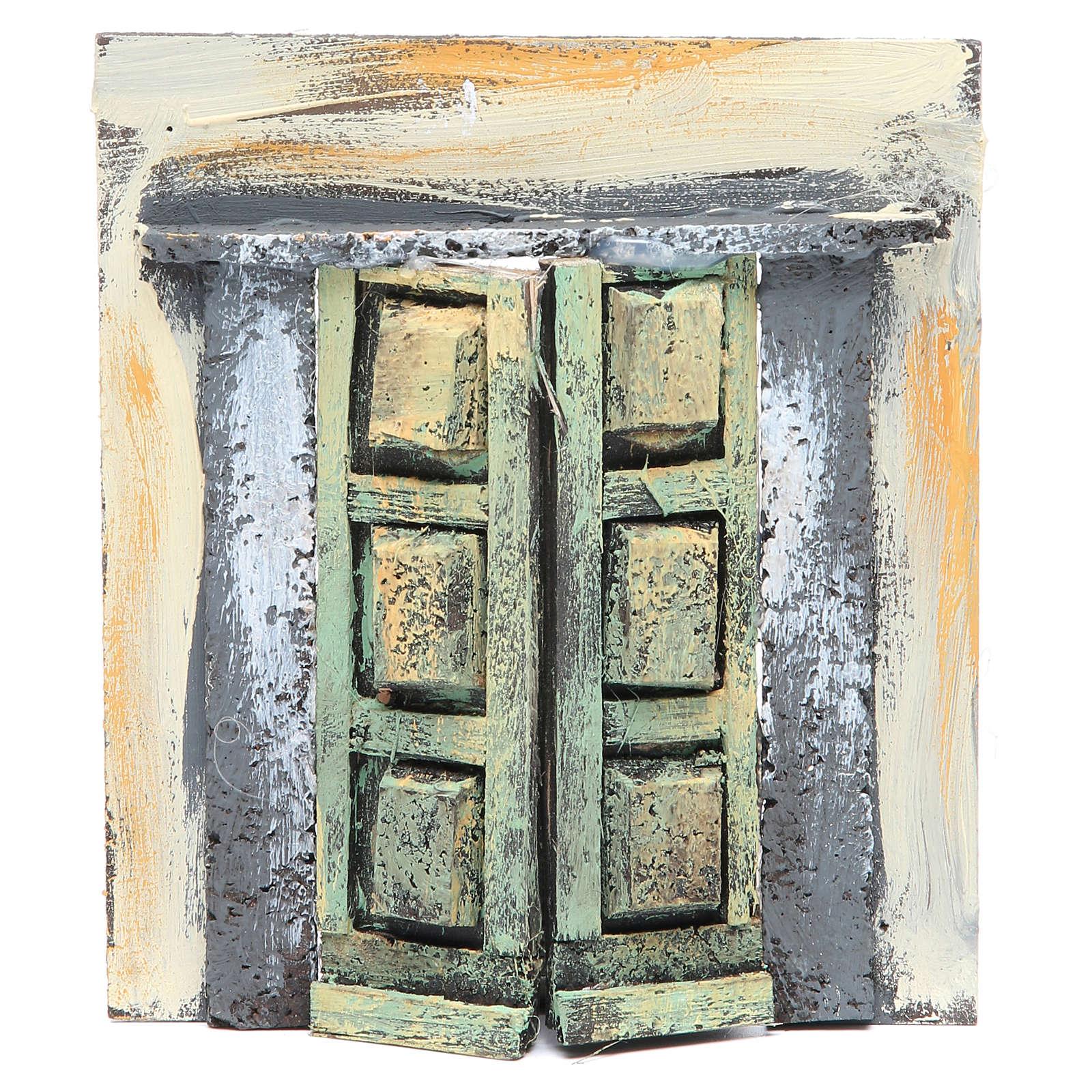 Wall with door for nativities measuring 17x15x1cm 4