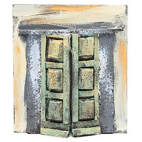 Wall with door for nativities measuring 17x15x1cm s1