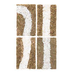 Mousse végétale, Lichens, Arbres, Pavages: Ruelle à construire crèche 4 pcs 16x19 cm