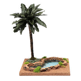 Palm tree for DIY nativities with pond 35x18x18cm s1