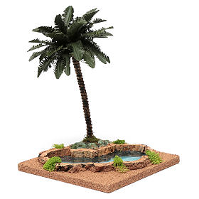 Palm tree for DIY nativities with pond 35x18x18cm s2