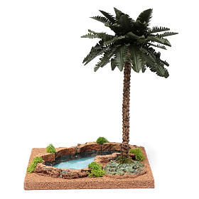 Palm tree for DIY nativities with pond 35x18x18cm s4