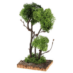 Tree with lichens on rock for DIY nativities 13x18x18cm s2