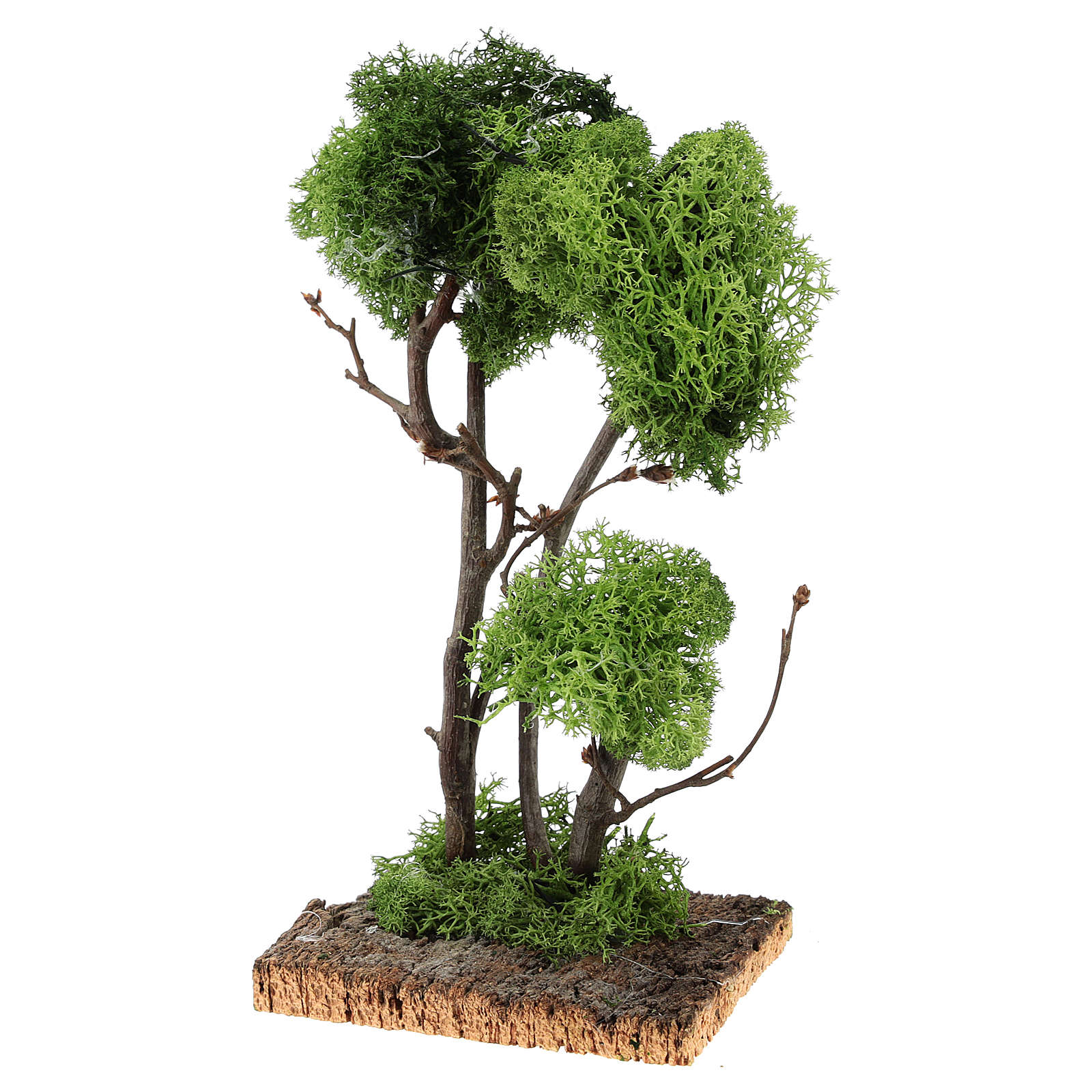 Tree with lichens on rock for DIY nativities 13x18x18cm 4