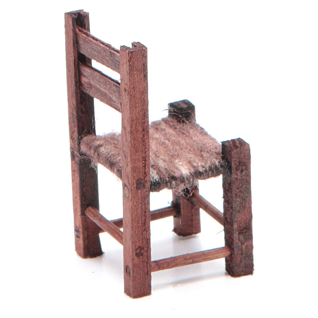 Neapolitan Nativity accessory: wooden chair measuring 5X2.5X2.5cm 4