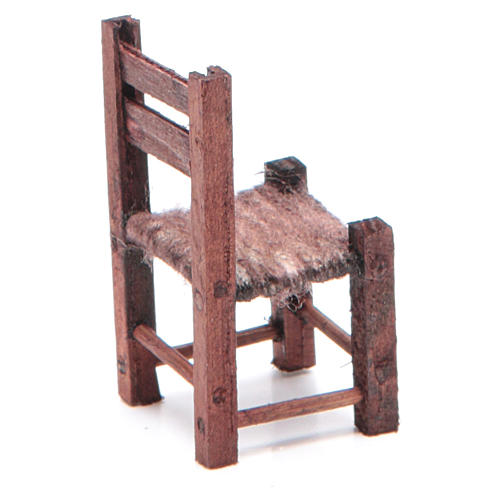 Neapolitan Nativity accessory: wooden chair measuring 5X2.5X2.5cm 2