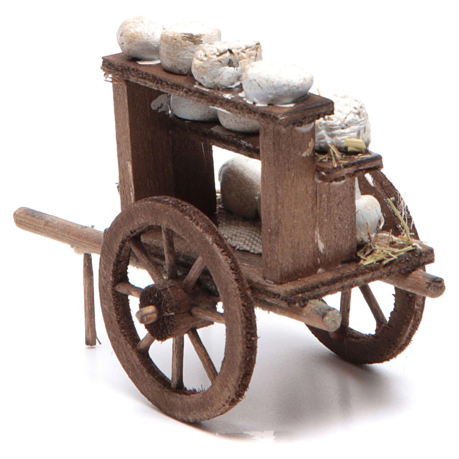 Neapolitan Nativity accessory: cheese cart measuring 7x10x4cm 4