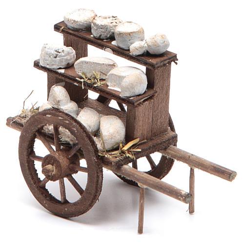 Neapolitan Nativity accessory: cheese cart measuring 7x10x4cm 1