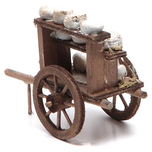 Neapolitan Nativity accessory: cheese cart measuring 7x10x4cm 2