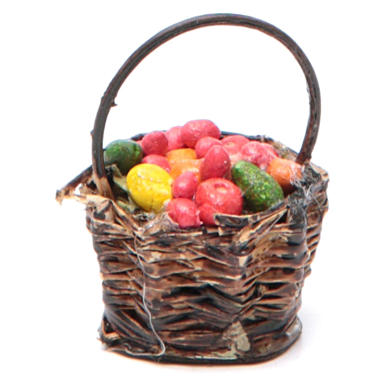 Cesto di frutta con manico presepe napoletano 4x13x6 4