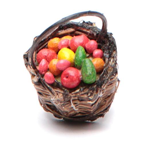 Cesto di frutta con manico presepe napoletano 4x13x6 2