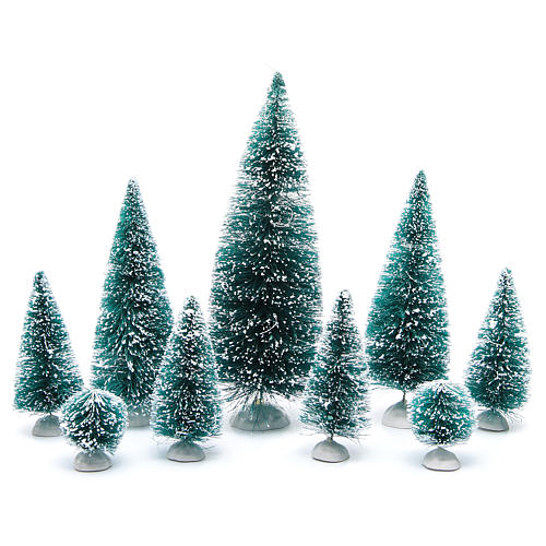Nativity scene assorted trees 9 pieces various sizes 1