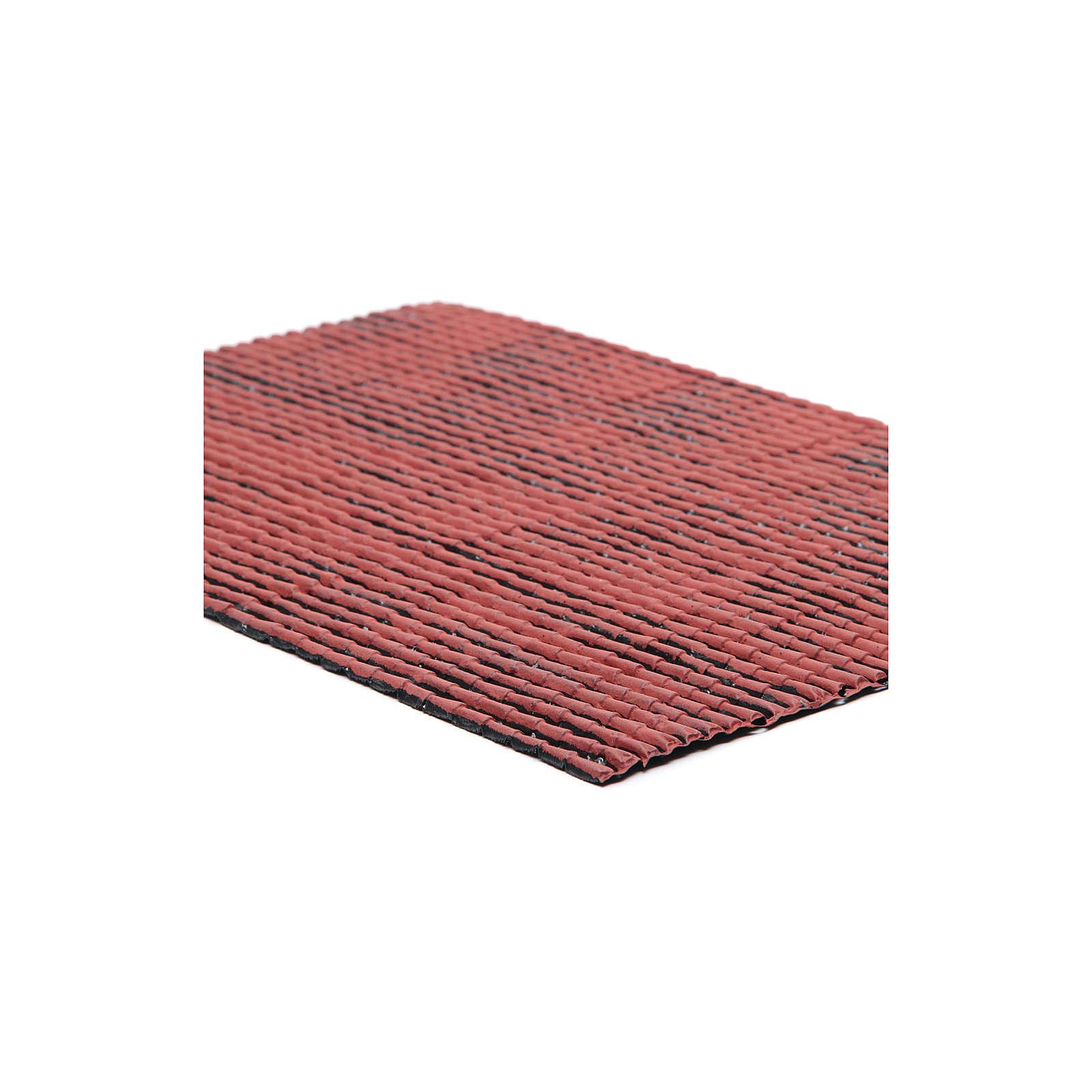Pannello in plastica tetto con tegole colore rosso 50x30 cm 4