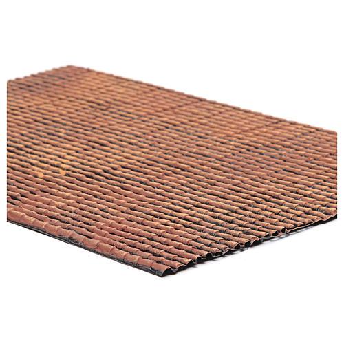 Pannello in plastica per tetto con tegole di colore rosso sfumato dim. 50x30 2