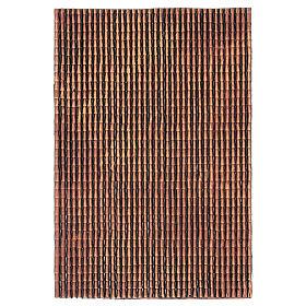 Acessórios de Casa para Presépio: Painel em plástico para telhado com telhas de cor vermelha matizada 50x30 cm