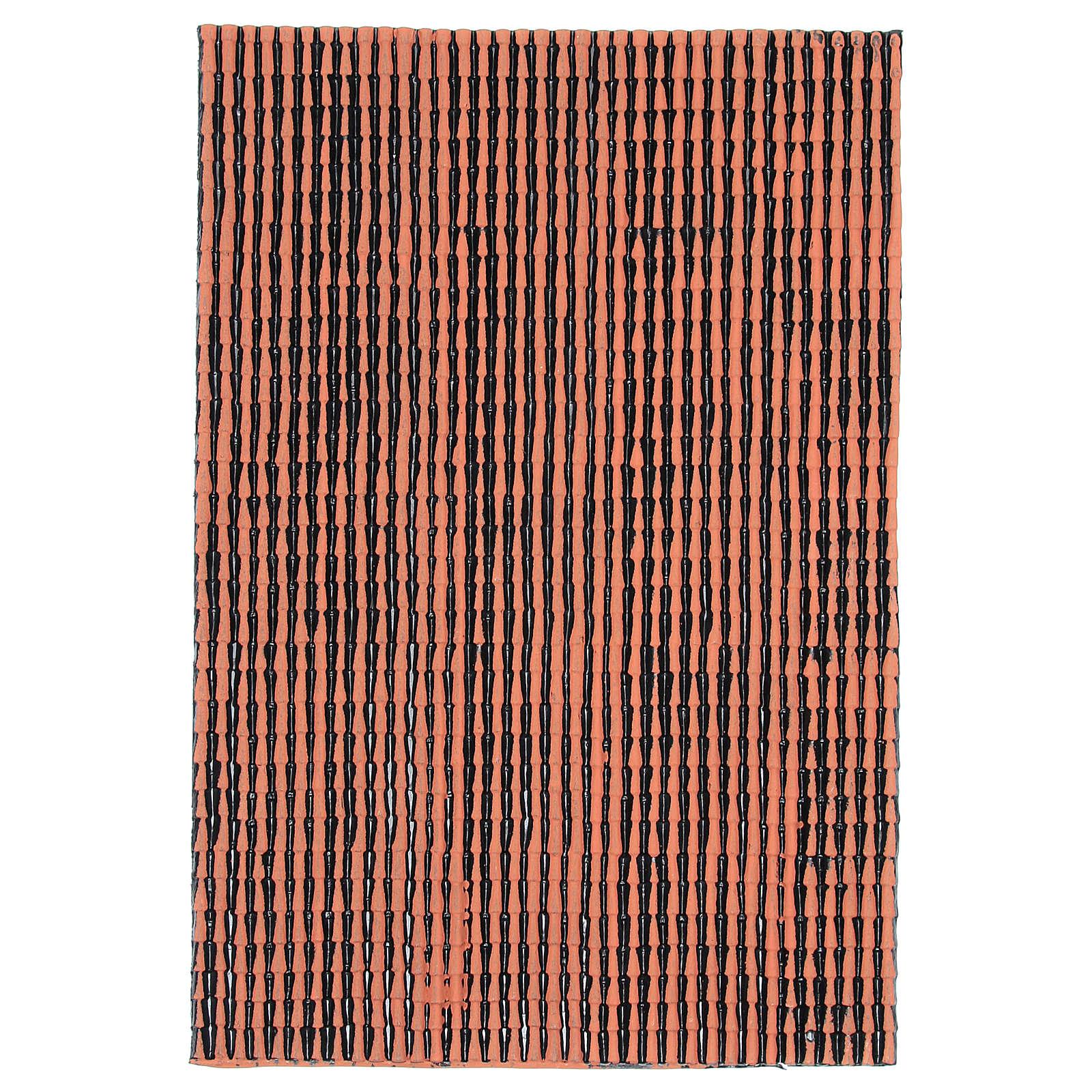 Pannello in plastica per tetto con tegole di colore terracotta dim. 50x30 4