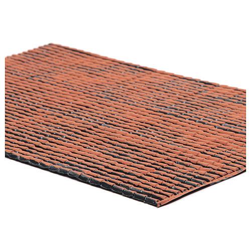 Pannello in plastica per tetto con tegole di colore terracotta dim. 50x30 2