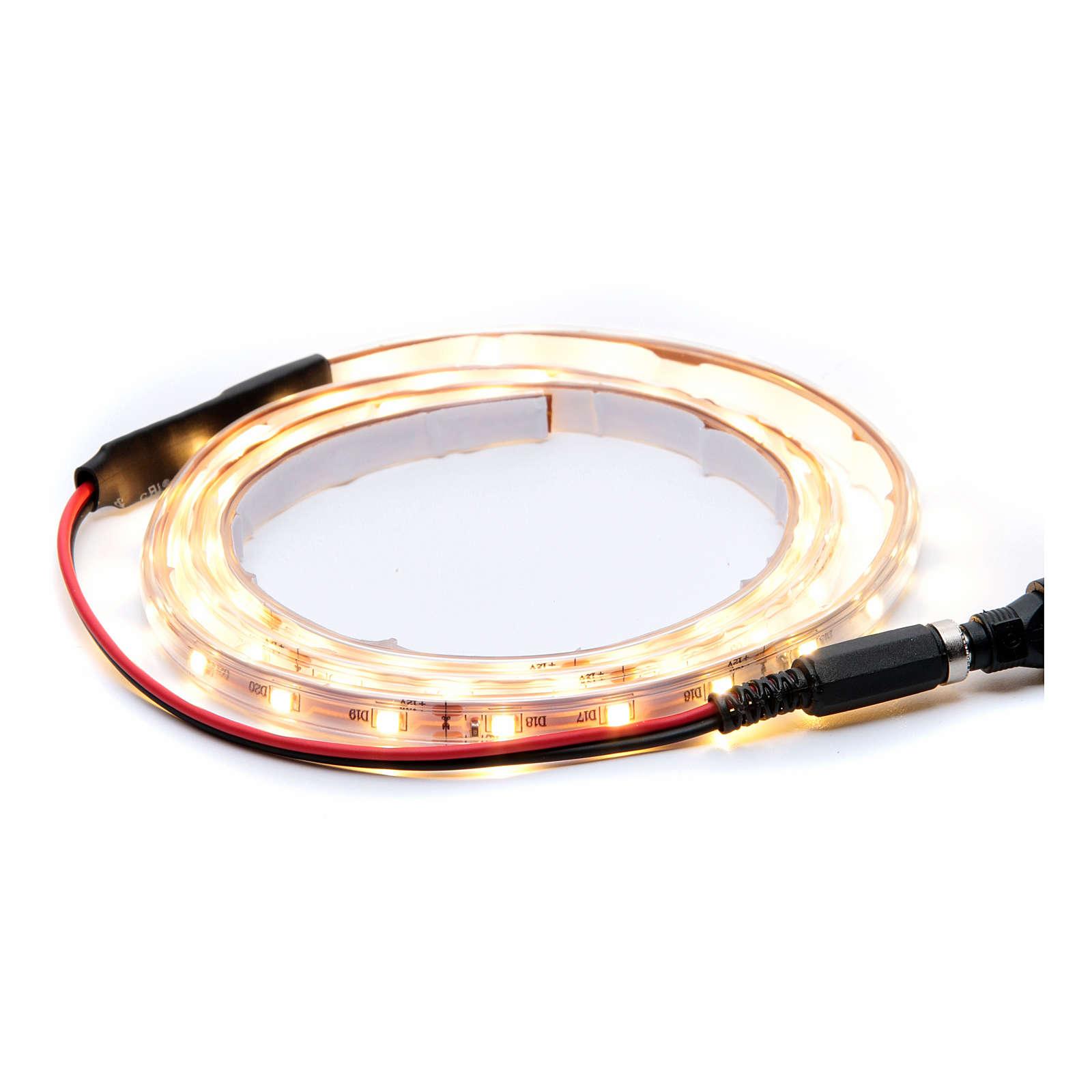 Striscia Led bianco caldo 1 m 30 led con connettore 4