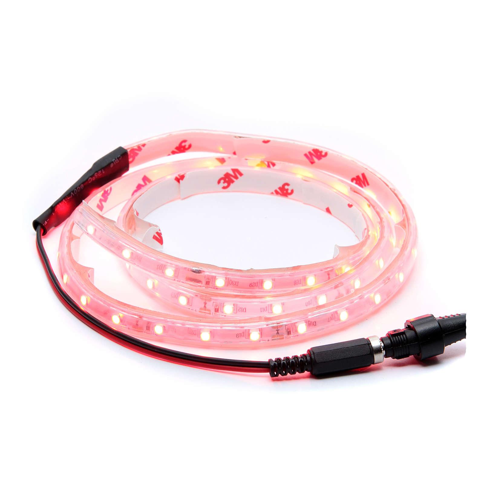 Striscia Led rosso 1 m 30 led con connettore 4