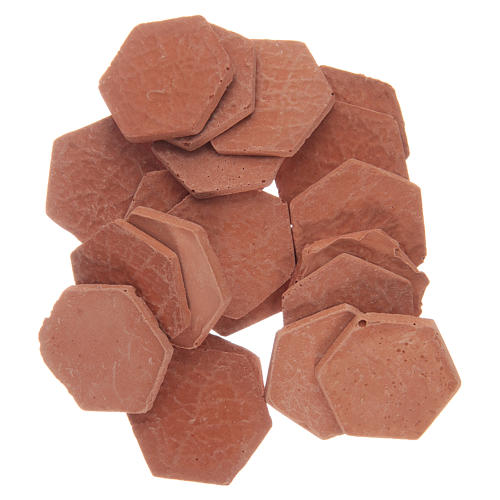 Resin hexagonal terracotta colour tiles 20 pieces 1