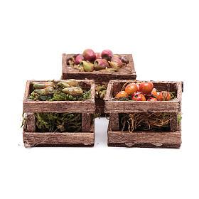 Aliments en miniature: Caisses fruit pour crèche bricolage 3 pcs
